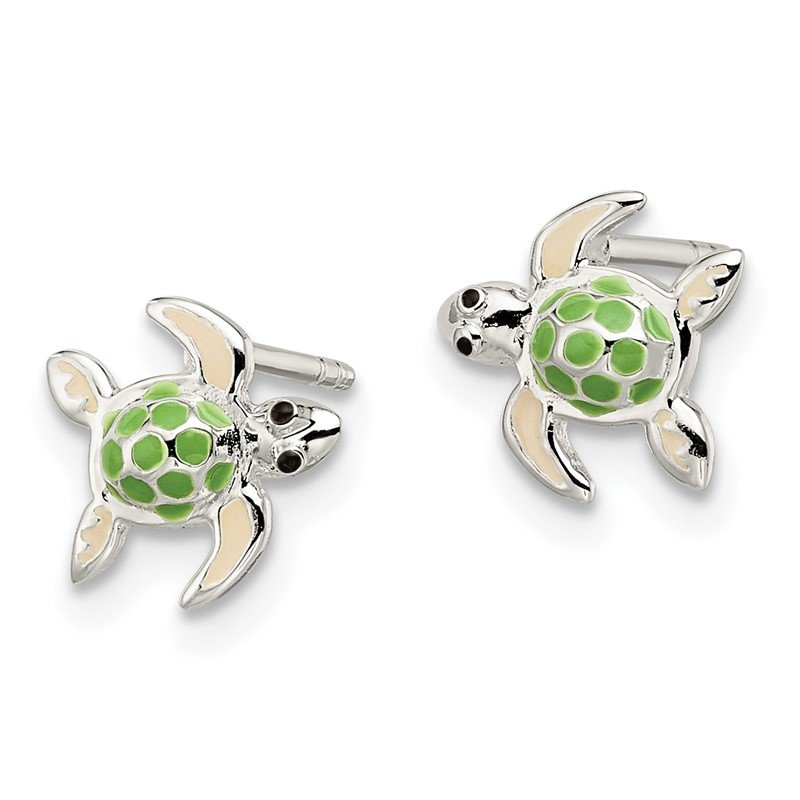 Quality Gold Sterling Silver Children's Enameled Sea Turtle Post Earrings