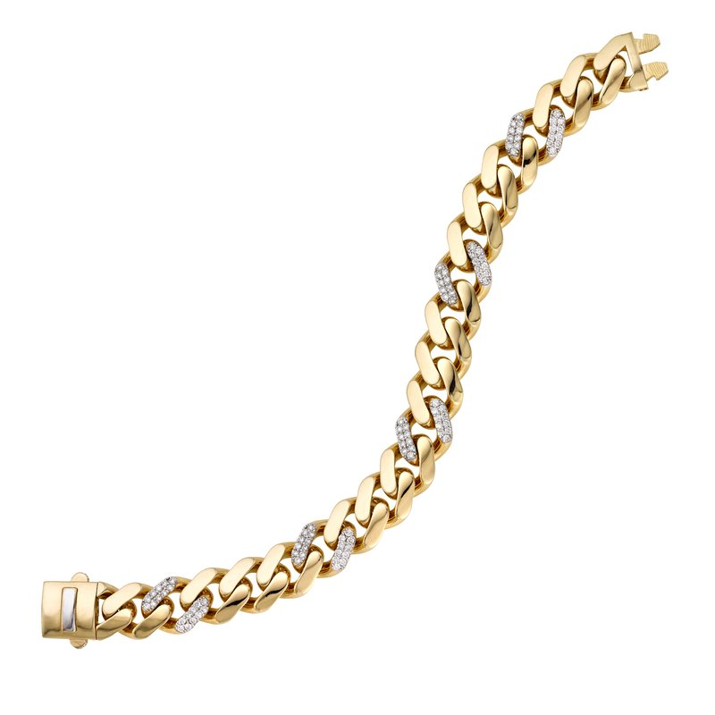 Royal Chain 14K Gold 11.5mm Lite Miami Cuban with Diamond Stations