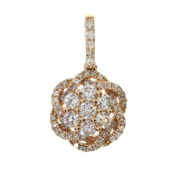 14k Rose Gold  Diamond Flower Cluster Pendant