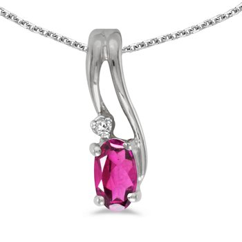 14k White Gold Oval Pink Topaz And Diamond Wave Pendant