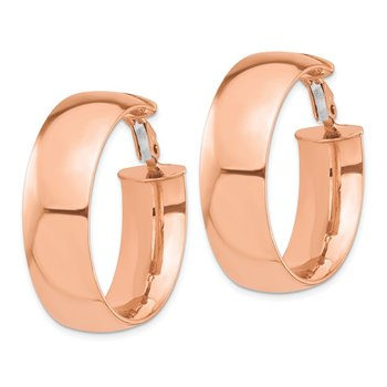 14k Rose Gold High Polished 10mm Omega Back Hoop Earrings