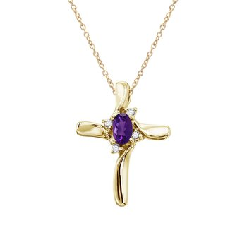 14K Yellow Gold Amethyst and Diamond Cross Pendant