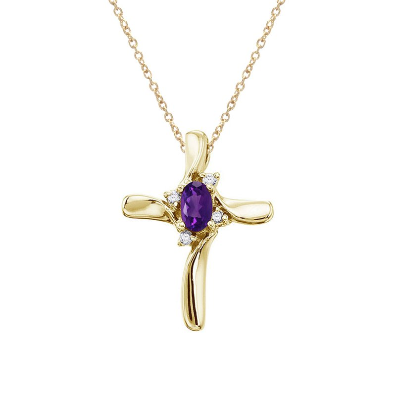 Color Merchants 14K Yellow Gold Amethyst and Diamond Cross Pendant