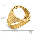 Quality Gold 14ky Polished Men's Ribbed Edge Diamond-cut 16.5mm Coin Bezel Ring
