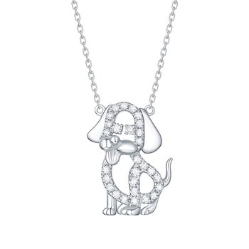 Smiling Rocks 0.26Ct G-H/VS1 Lab Grown Diamond Animal Puppy Dog Necklace