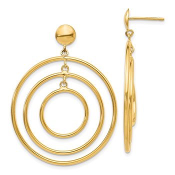 14k Fancy Circle Dangle Post Earrings