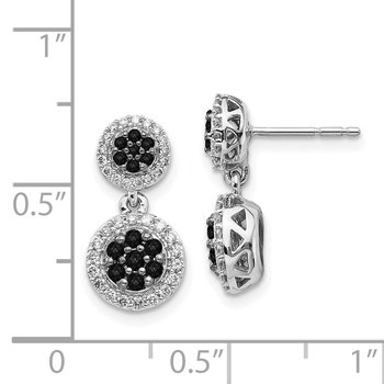 14k White Gold Black/White Diamond Cluster Dangle Earrings
