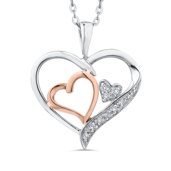 Rose Gold .03 Ct Diamond Heart Pendant with Chain