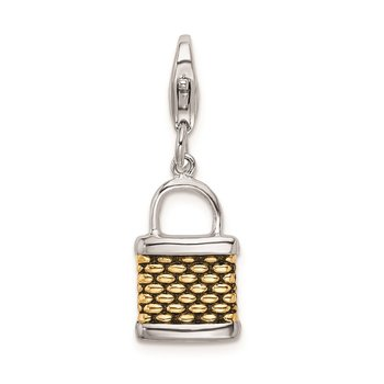 Sterling Silver Amore La Vita Rhod-pl Gold-plated 3-D Fishing Basket Charm