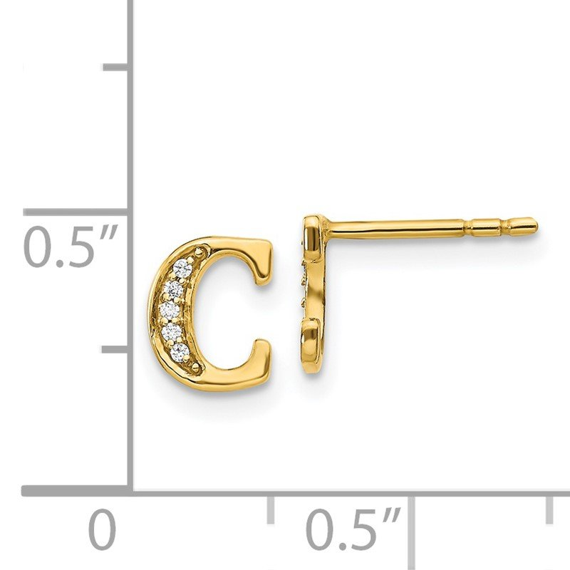 Quality Gold 14k White Gold Diamond Initial C Earrings