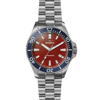 The Harbor Monster Automatic 43mm Stainless Red Dial Bracelet Watch