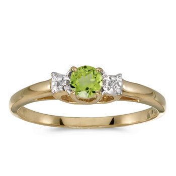 14k Yellow Gold Round Peridot And Diamond Ring