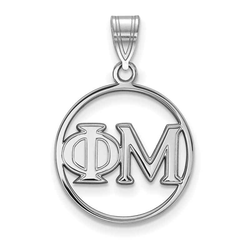 Sterling Silver Phi Mu Small Circle Pendant by LogoArt SS011PHM