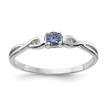 Sterling Silver Rhodium-plated Blue Color & White CZ Ring