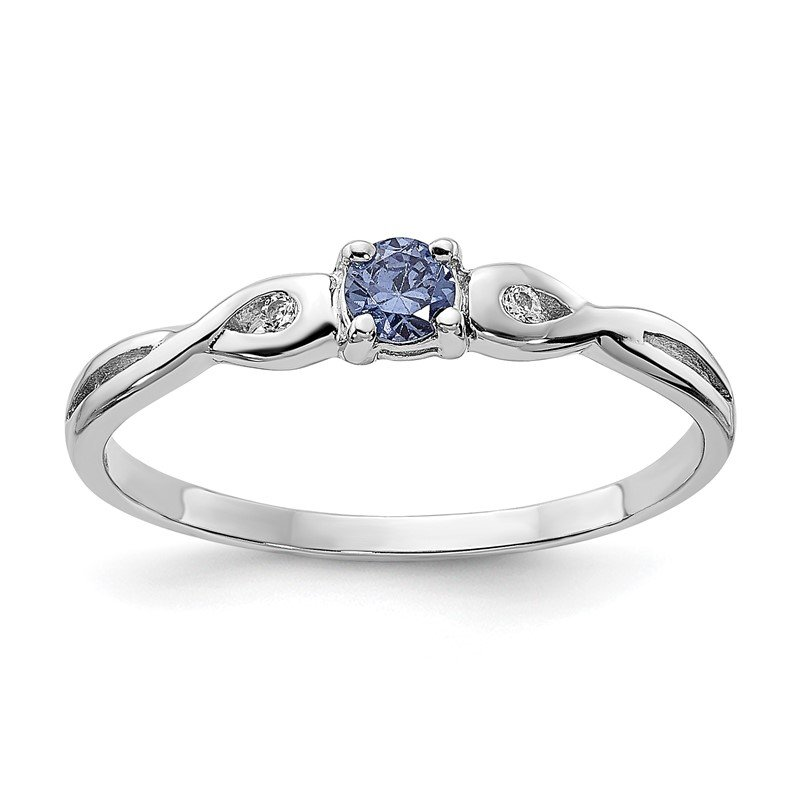 Quality Gold Sterling Silver Rhodium-plated Blue Color & White CZ Ring
