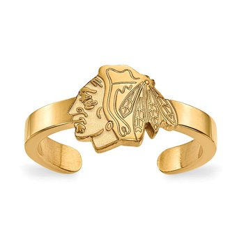 Gold-Plated Sterling Silver Chicago Blackhawks NHL Ring