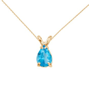 14k Yellow Gold Pear Shaped Blue Topaz Pendant