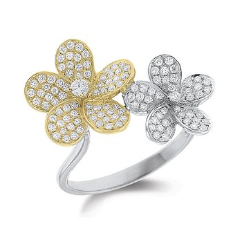 Diamond Double Floral Ring in 14k White and Yellow Gold with 122 Diamonds weighing .52ct tw.