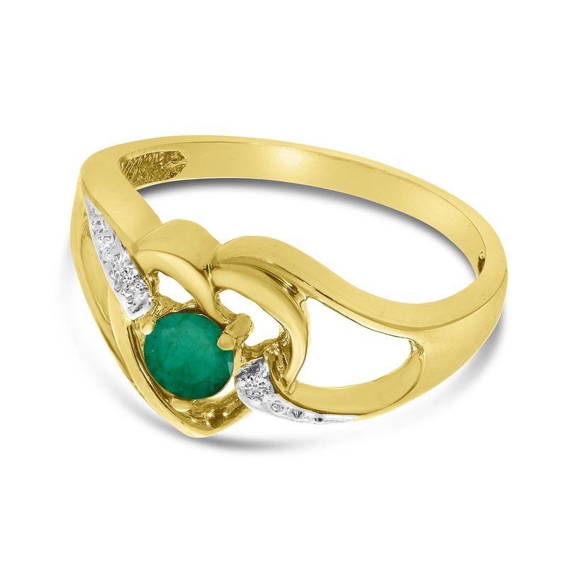 14k Yellow Gold Round Emerald And Diamond Heart Ring