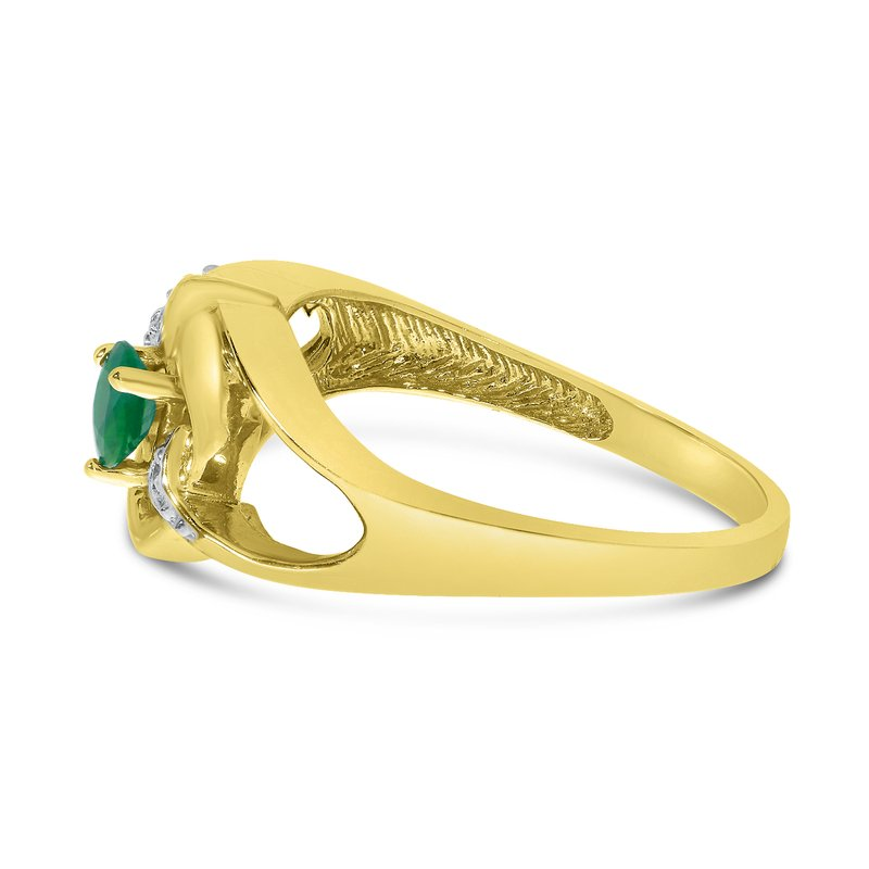 Color Merchants 14k Yellow Gold Round Emerald And Diamond Heart Ring