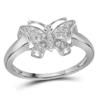 10kt White Gold Womens Round Diamond Butterfly Bug Cluster Fashion Ring 1/12 Cttw