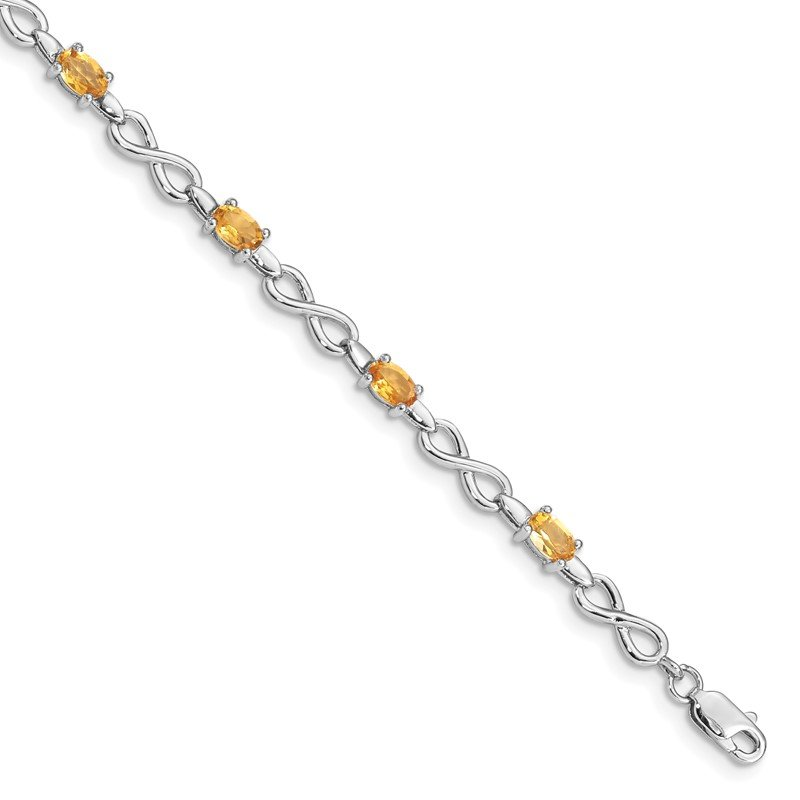 Quality Gold Sterling Silver Rhodium-plated Citrine Bracelet