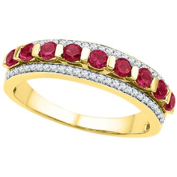 10kt Yellow Gold Womens Round Lab-Created Ruby Band Ring 1.00 Cttw