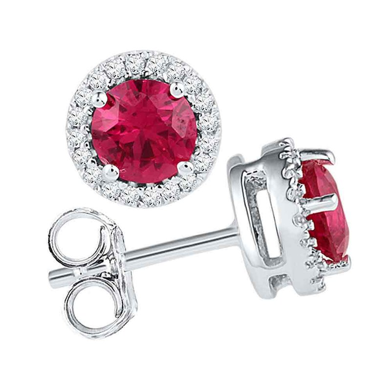 Gold-N-Diamonds, Inc. (Atlanta) 10kt White Gold Womens Round Lab-Created Ruby Solitaire Stud Earrings 1-1/3 Cttw