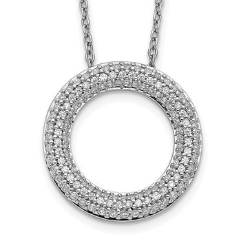 14k White Gold Diamond Circle 18 inch Necklace