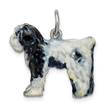 Sterling Silver Enameled Old English Sheepdog Charm