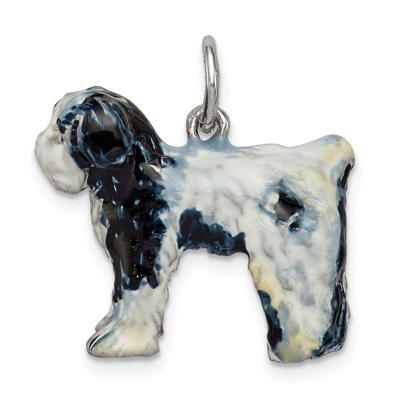 Quality Gold Sterling Silver Enameled Old English Sheepdog Charm