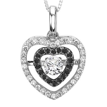 14K Black & White Diamond Rhythm Of Love Pendant 3/8 ctw