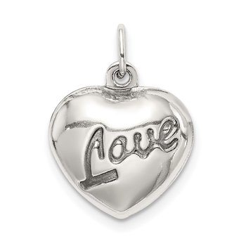 Sterling Silver Love Puffed Heart Charm