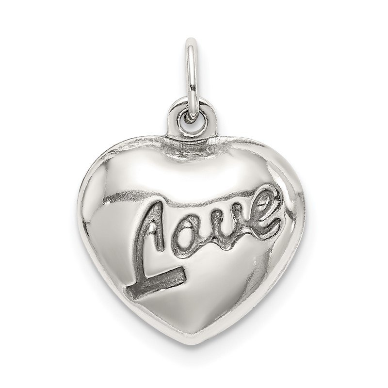 Quality Gold Sterling Silver Love Puffed Heart Charm