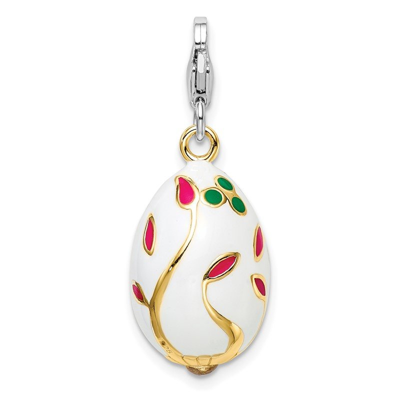 Quality Gold Sterling Silver 3-D Enameled Gold-plated White Egg w/Lobster Clasp Charm