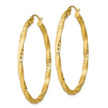 Sterling Silver Gold-plated Diamond-cut Twist Satin 4mm Oval Hoop Earrings