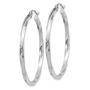 Sterling Silver Rhodium-plated Twisted 2.5x40mmHoop Earrings