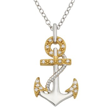 Yellow Goldplated Sterling Silver 1/10ct Diamond Anchor Pendant