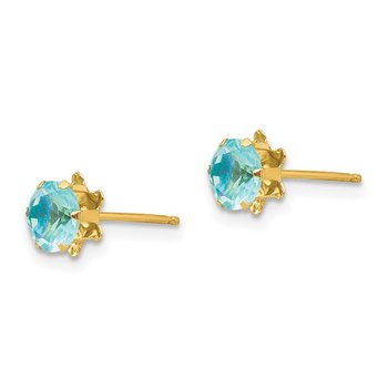 14k Madi K 5mm Synthetic (Mar) Earrings