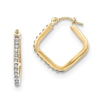 14k Diamond Fascination Square Hoop Earrings