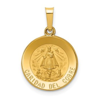 14k Polished and Satin Caridad Del Cobre Medal Hollow Pendant
