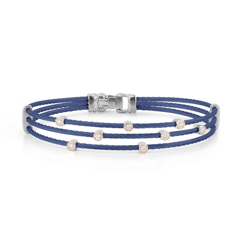 ALOR Blueberry Cable Triple Strand Bracelet with 18kt Rose Gold & Diamonds
