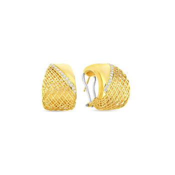 18Kt Gold Flat Edge Tapered Earrings With Diamonds
