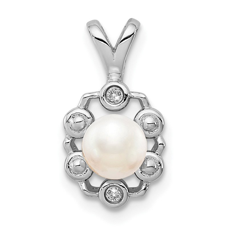 Quality Gold Sterling Silver Rhodium-plated FW Cultured Pearl & Diam. Pendant