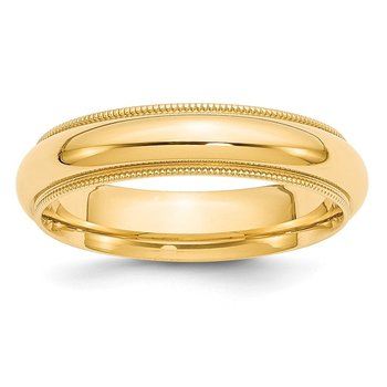 14k 5mm Milgrain Comfort Wedding Band