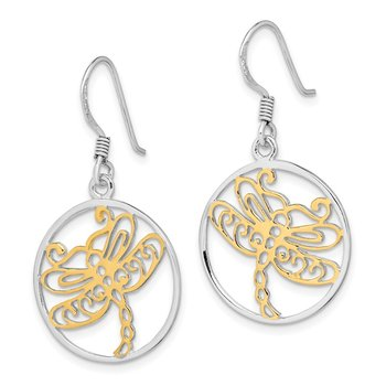 Sterling Silver Rhodium-plated Gold Tone Dragonfly Dangle Earring