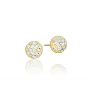 Petite Dew Drop Stud featuring Pavé Diamonds