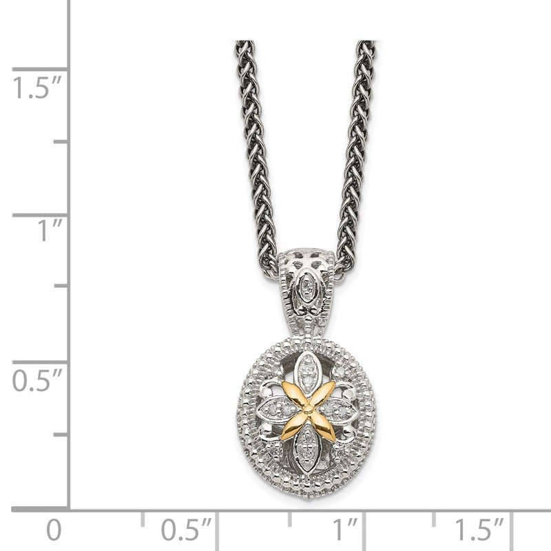 JC Sipe Essentials Sterling Silver w/14k Diamond Necklace