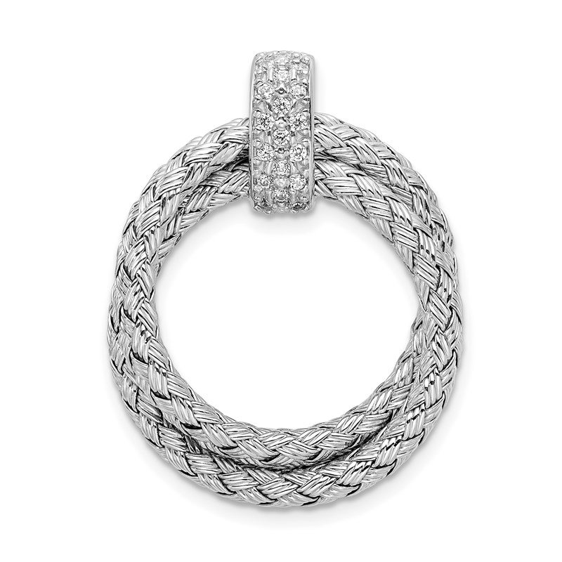 Leslie's Leslie's Sterling Silver Polished with CZ Braided Pendant
