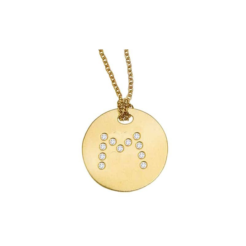 Roberto Coin Disc Pendant With Diamond Initial M